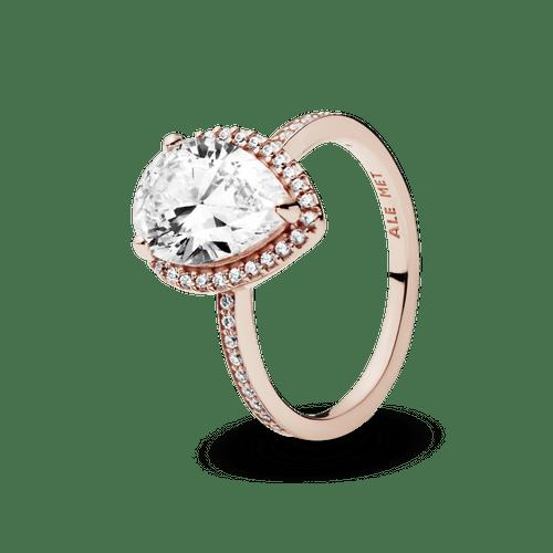 Anillo con halo brillante en forma de gota Pandora Rose