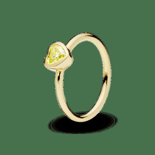 Anillo Corazón de piedra amarilla Pandora Shine