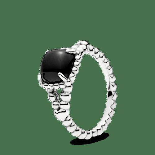 Anillo de plata  espíritu vibrante con cristal negro