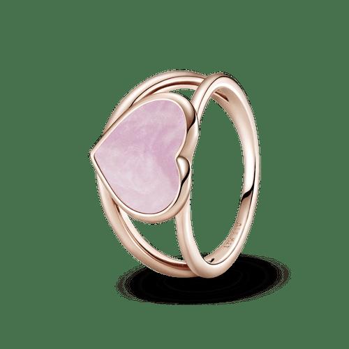 Anillo de impacto Corazón con remolino rosa Pandora Rose