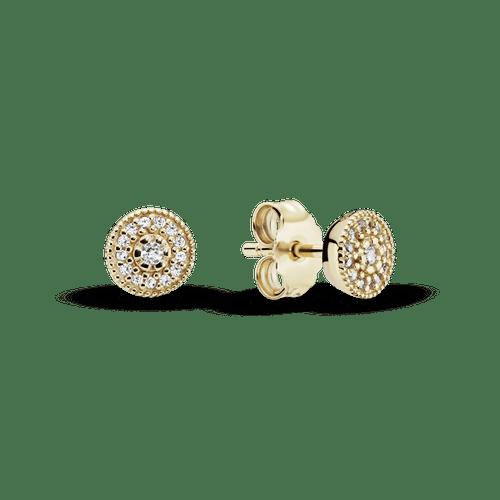 Aretes de botón Brillo elegante Oro 14K