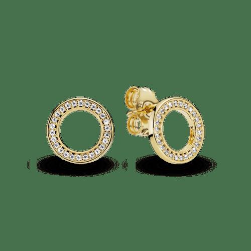 Aretes de botón Círculo con brillo Pandora Shine