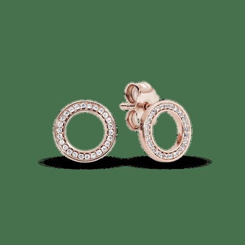 Aretes de botón Círculo reluciente Pandora Rose