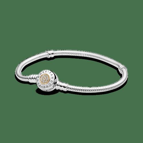 Brazalete Pandora Moments cadena de serpiente con broche con logotipo Dos Tonos