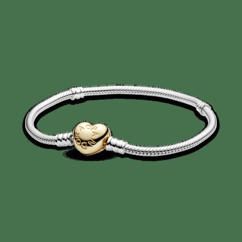 Brazalete Pandora Moments cadena de serpiente con broche de corazón Shine