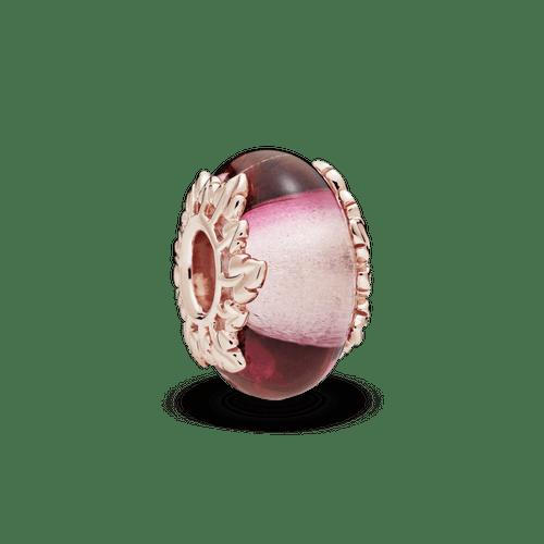 Charm de cristal Murano rosa y hojas Pandora Rose