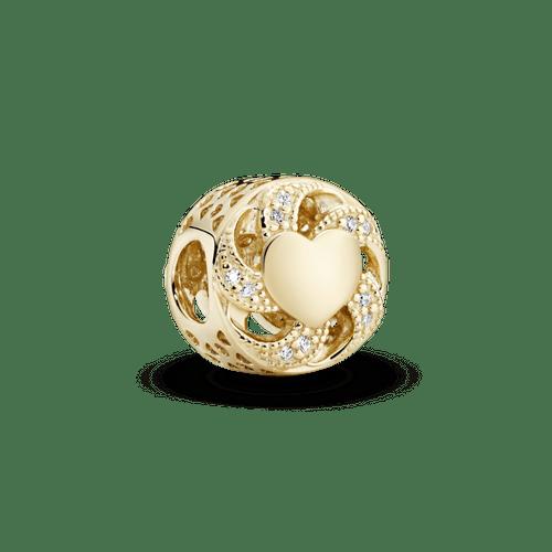 Charm de oro calado Corazón con listón