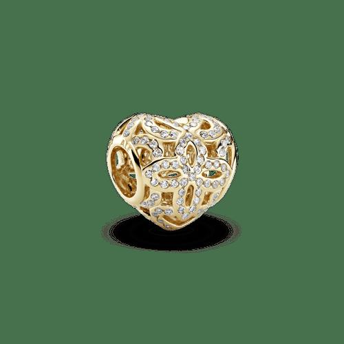 Charm de oro Corazón con flores caladas