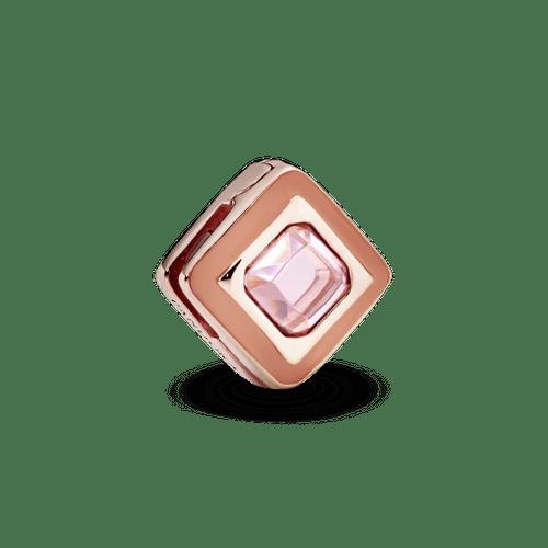 Clip fijo Cuadrado Rosado En Pandora Rose Reflexions