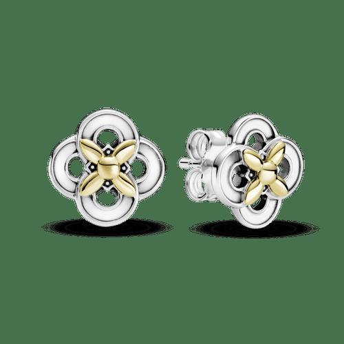 Aretes De Botón Flores En Dos Tonos