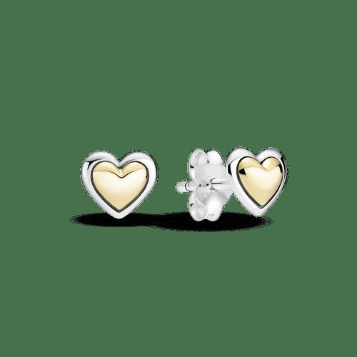 Aretes De Botón Corazón Dorado Cóncavo Dos Tonos