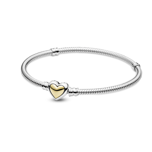 Brazalete Cadena De Serpiente Con Broche De Corazón Dorado Cóncavo Dos Tonos