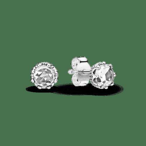 Aretes de botón Corona Resplandor transparente