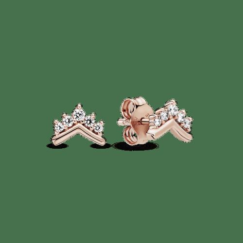 Aretes de botón Hueso de los deseos con tiara Pandora Rose