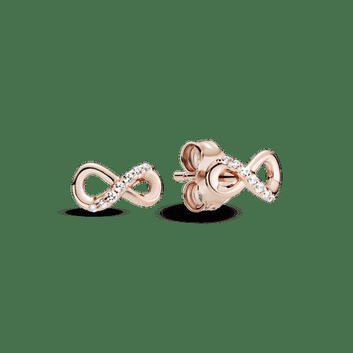 Aretes de botón infinito reluciente Pandora Rose