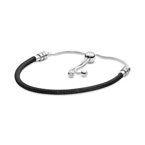 Brazalete deslizante Pandora Moments de cuero negro