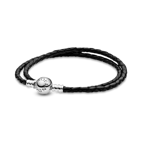 Brazalete doble de cuero negro Pandora Moments