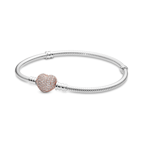 Brazalete Pandora Moments cadena de serpiente con broche de corazón Rose