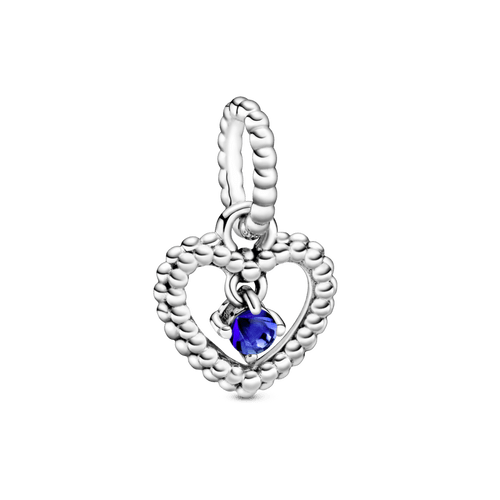 Charm colgante Corazón de Abalorio azul mar