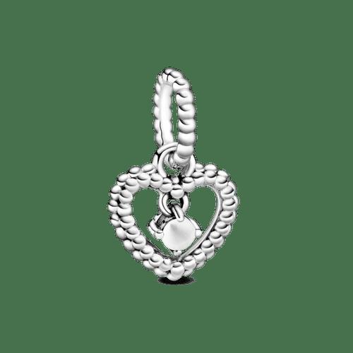 Charm colgante Corazón de abalorio blanco leche