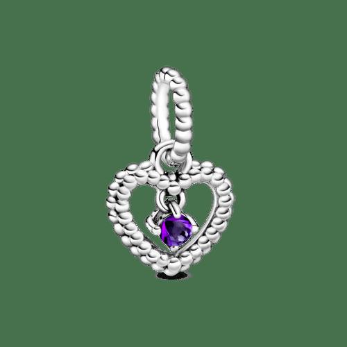 Charm colgante Corazón de abalorio morado