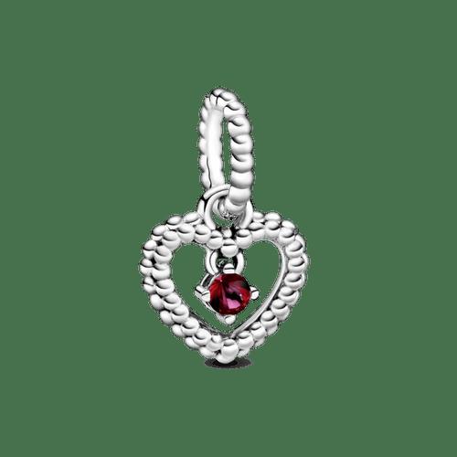 Charm colgante Corazón de abalorio rojo ardiente