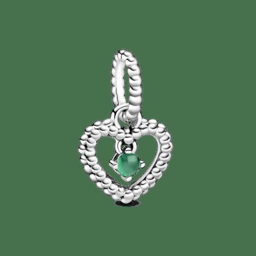 Charm colgante Corazón de Abalorio verde tropical