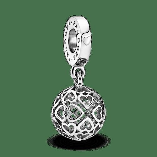 Charm colgante Esfera de corazones calados