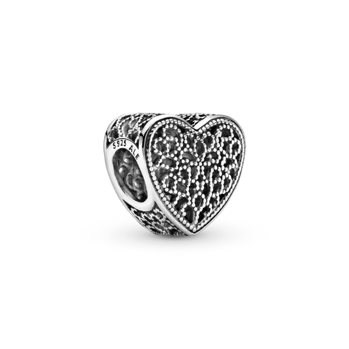 Charm Corazón de filigrana y cuentas