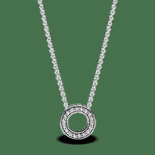 Collar collier Círculo de pavé con logotipo Pandora