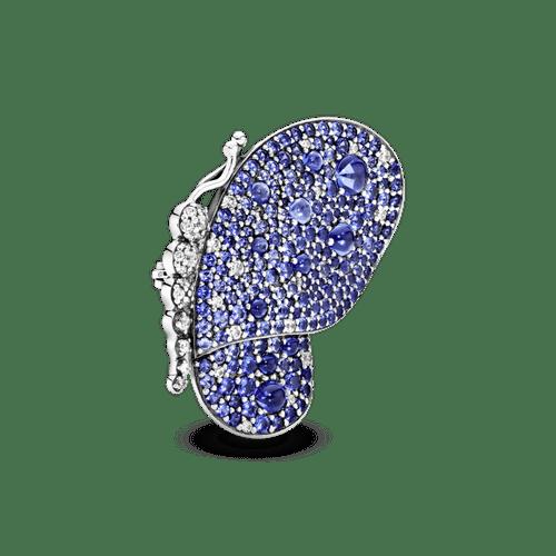 Prendedor Mariposa De Pavé Azul