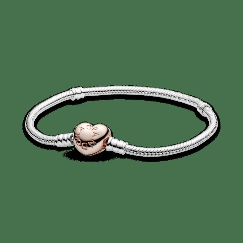 Brazalete Pandora Moments Rose cadena de serpiente con broche de corazón