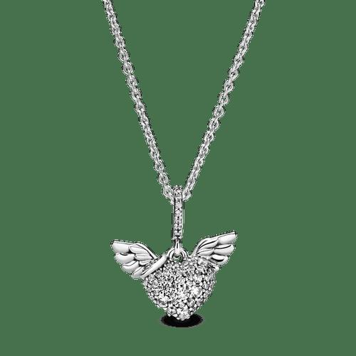 Collar de pavé Corazón y alas de ángel