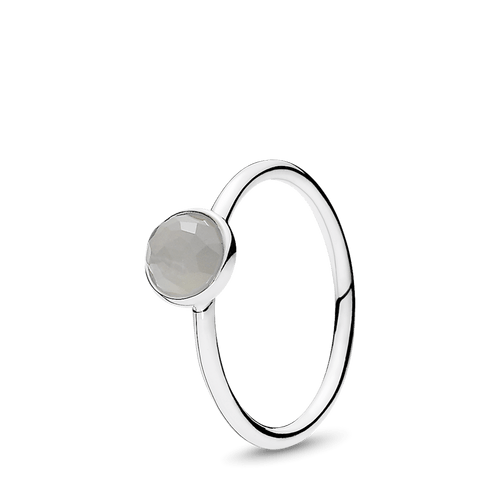 Anillo Momento de la vida, junio, piedra lunar gris