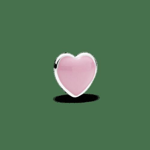 Pequeño Elemento Para Medallón Corazón Rosado, Esmalte Rosado