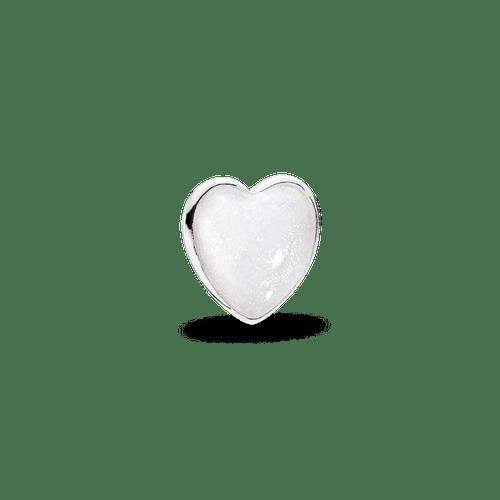 Pequeño Elemento Para Medallón Corazón, Esmalte Color Plateado Brillante