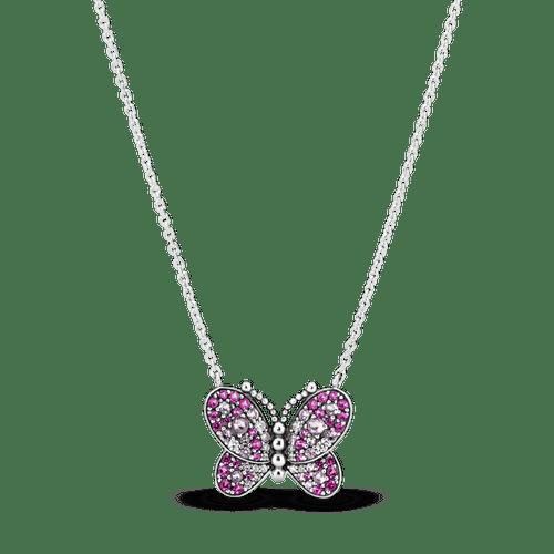 Collar Mariposa De Pavé Rosa Silver