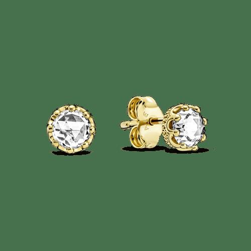 Aretes De Botón Corona Resplandor Transparente Pandora Shine
