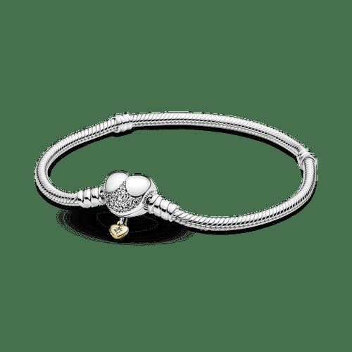 Brazalete Cadena De Serpiente Con Broche De Corazón De Disney Pandora Moments Pandora Shine