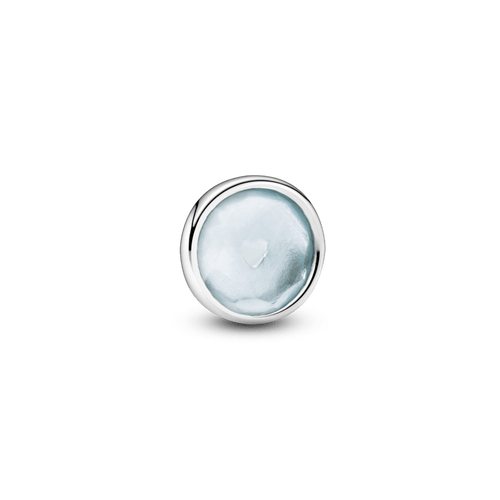 Pequeño Elemento Para Medallón Piedra Natal Azul Agua Marzo