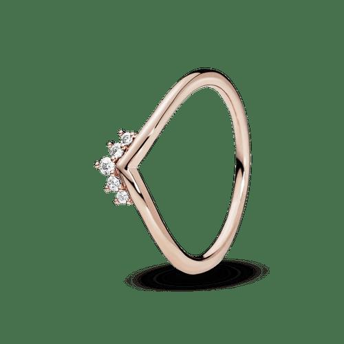 Anillo Hueso de los deseos con tiara Recubrimiento en Oro Rosa de 14k