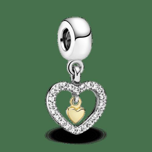 Charm Colgante Corazón Doble Resplandeciente Dos Tonos