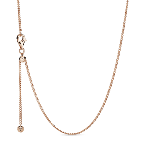 Collar Cadena de bordillo Recubrimiento en Oro Rosa de 14k