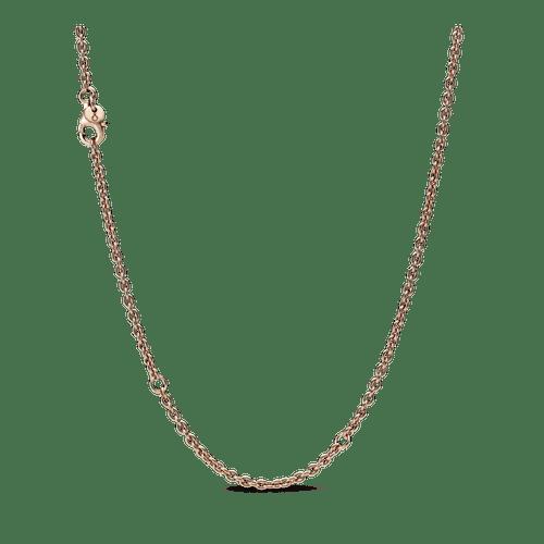 Collar cadena de cable Recubrimiento en Oro Rosa de 14k