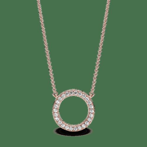 Collar Círculo de brillo Recubrimiento en Oro Rosa de 14k
