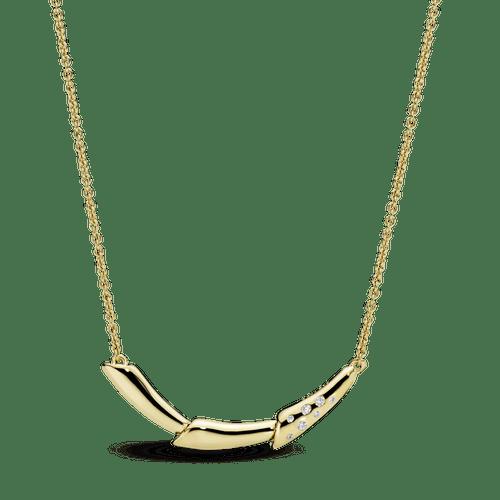 Collar Tallo de flor Recubrimiento en Oro de 14k