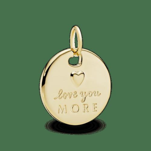 Dije redondo corazón y te amo más Recubrimiento en Oro de 14k