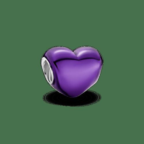 Charm Corazón metálico morado