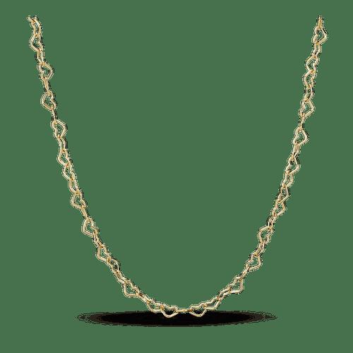 Collar De Cadena Corazones Unidos Recubrimiento en Oro de 14k