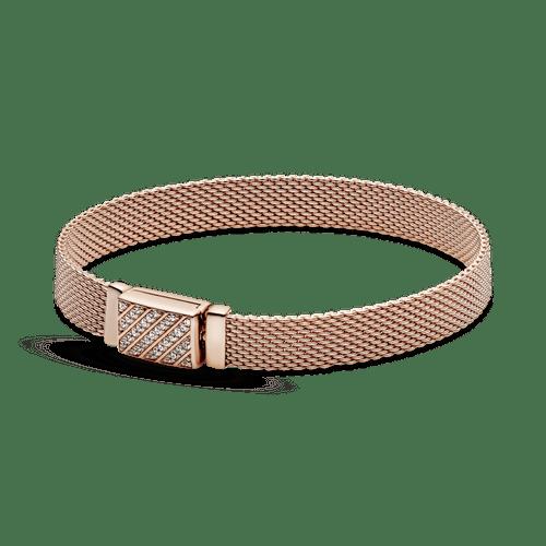 Brazalete Pandora Reflexions Con Cierre Largo En Pavé En Recubrimiento en Oro Rosa de 14k